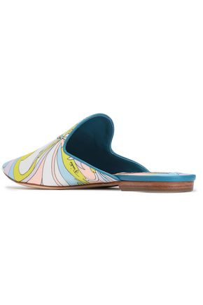 EMILIO PUCCI Leather-trimmed printed satin slippers