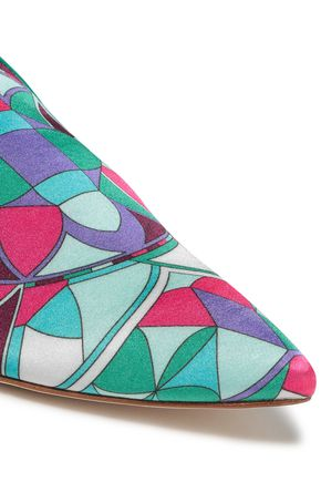 EMILIO PUCCI Leather-trimmed printed cotton-blend satin slippers