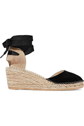 IRIS & INK Suede and canvas wedge espadrilles