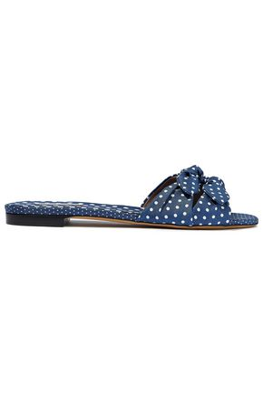 TABITHA SIMMONS Cleo bow-embellished polka-dot twill slides