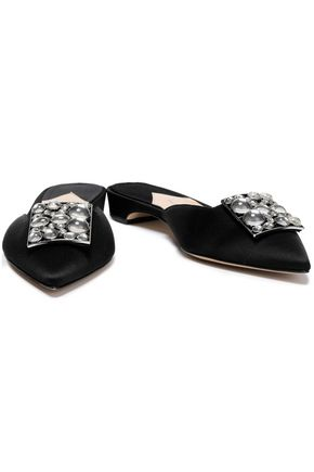 PAUL ANDREW Lilia embellished satin slippers
