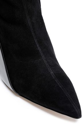 PAUL ANDREW Kora patent-leather and suede-paneled sock boots