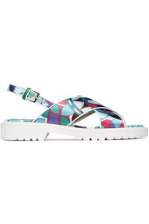 EMILIO PUCCI Printed satin-twill slingback sandals
