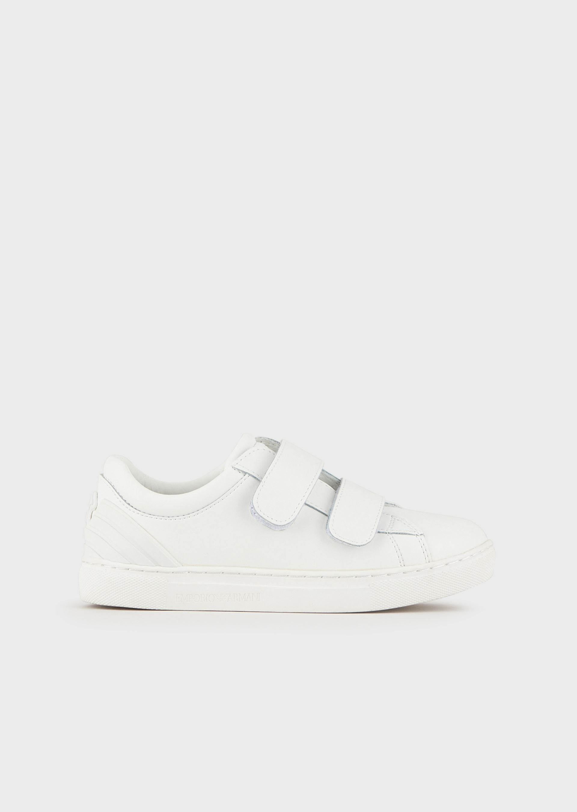 EMPORIO ARMANI Leather sneakers with eagle logo on the back