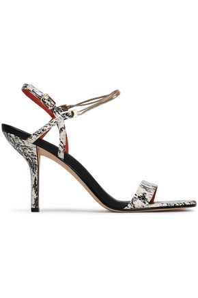 DIANE VON FURSTENBERG Frankie embellished snake-effect leather sandals
