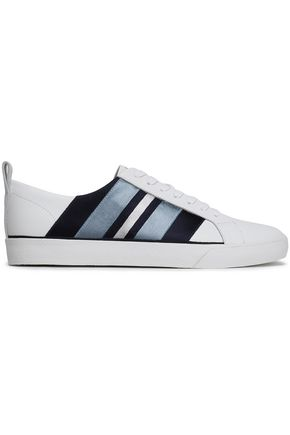 DIANE VON FURSTENBERG Tess striped satin-trimmed leather sneakers