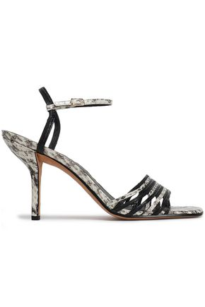 DIANE VON FURSTENBERG Federica smooth and snake-effect leather sandals