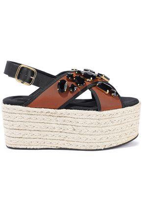 MARNI Crystal-embellished neoprene platform espadrille sandals