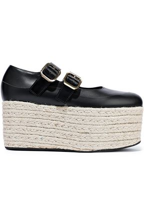 MARNI Leather platform espadrilles