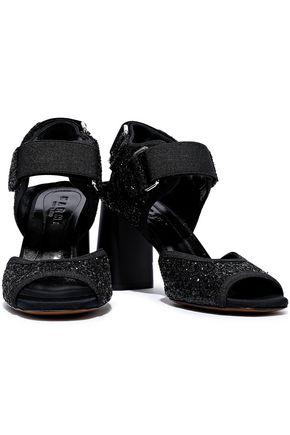 MARNI Glittered canvas slingback sandals