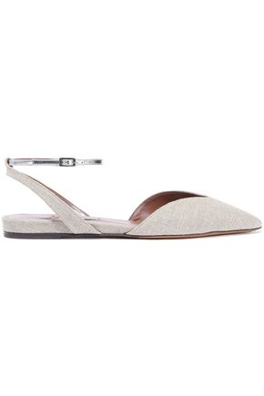 TABITHA SIMMONS Vera metallic leather-trimmed woven point-toe flats