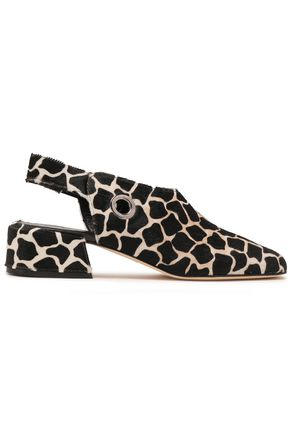 TIBI Aria printed calf hair slingback pumps