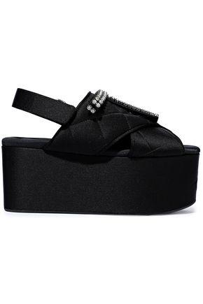 MARNI Crystal-embellished quilted satin platform sandals