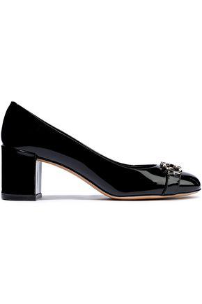 SALVATORE FERRAGAMO Embellished patent-leather pumps