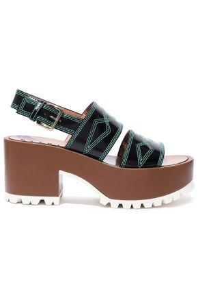 MARNI Embroidered glossed-leather platform slingback sandals