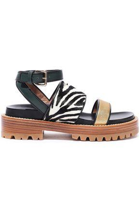 MARNI Fussbett zebra-print calf hair and metallic leather platform sandals