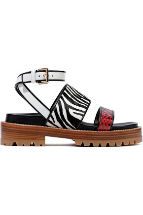 MARNI Fussbett zebra-print calf hair, leather and python sandals