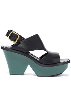 MARNI Cutout leather platform sandals
