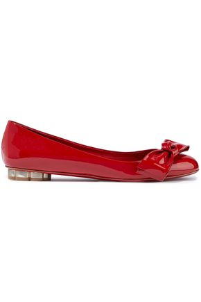 SALVATORE FERRAGAMO Avola bow-embellished patent-leather ballet flats
