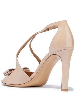 SALVATORE FERRAGAMO Gabrielle bow-embellished patent-leather sandals
