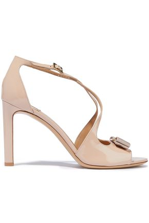 SALVATORE FERRAGAMO Gabrielle bow-embellished patent-leather sandals