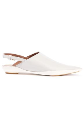 MARNI Two-tone glossed-leather slingback point-toe flats