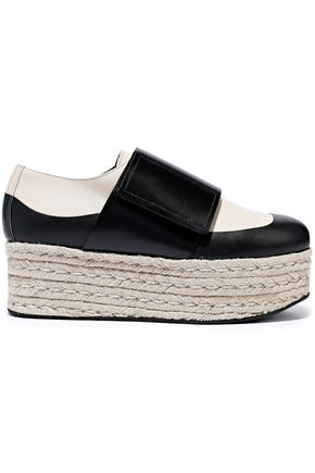 MARNI Two-tone leather platform espadrilles