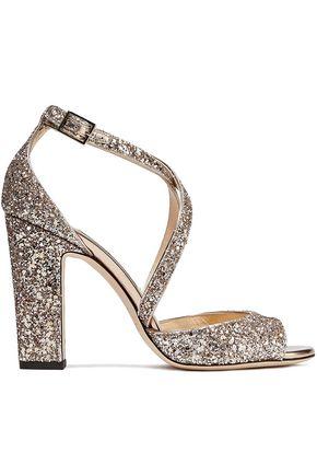f7f939b1779e JIMMY CHOO Carrie 100 glittered metallic leather sandals