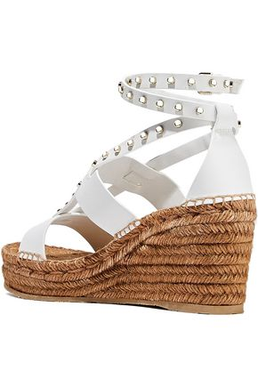 JIMMY CHOO Danica studded leather wedge espadrille sandals