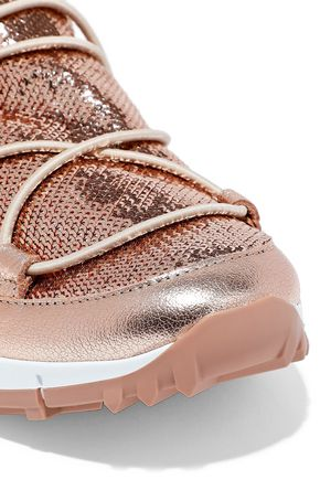 JIMMY CHOO Andrea metallic leather-trimmed sequined mesh slip-on sneakers