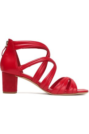 SANDRO Aliza suede-trimmed leather sandals