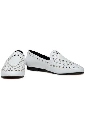 SANDRO Studded leather slippers
