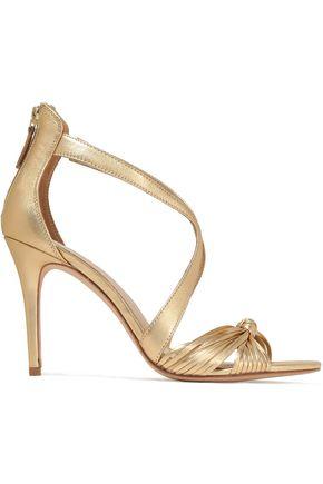 SANDRO Elisa metallic knotted leather sandals