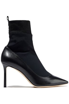 JIMMY CHOO Printed stretch-knit and leather sock boots