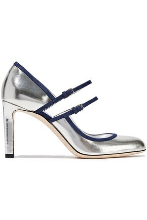 JIMMY CHOO Micha cutout metallic leather Mary Jane pumps