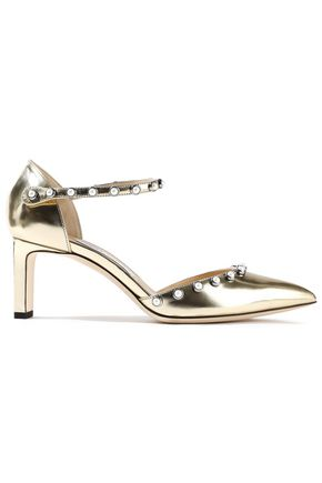 7b4589e364e2 JIMMY CHOO Leema 65 faux pearl-embellished metallic leather pumps