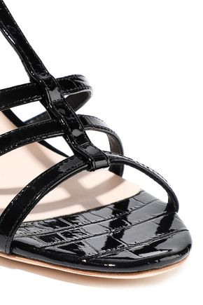 LOEFFLER RANDALL Elena croc-effect patent-leather slingback sandals