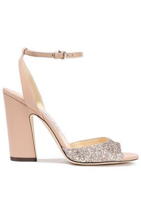 JIMMY CHOO Miranda 100 glitter-paneled leather sandals