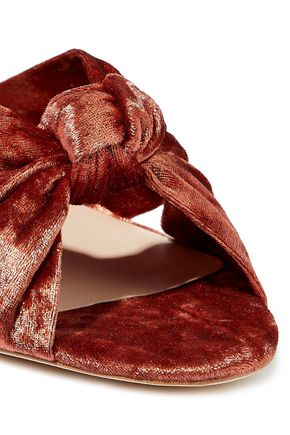 LOEFFLER RANDALL Celeste knotted crushed-velvet mules