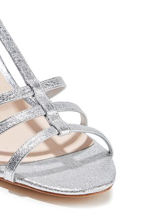 LOEFFLER RANDALL Elena metallic textured-leather slingback sandals