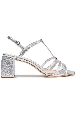 LOEFFLER RANDALL Elena metallic textured-leather slingback sandals