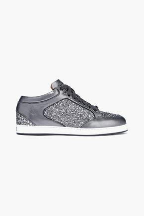 JIMMY CHOO Miami glittered metallic leather sneakers