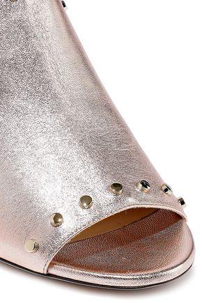 JIMMY CHOO Myla studded metallic leather mules