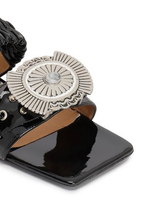 TOGA PULLA Embellished gathered patent-leather mules