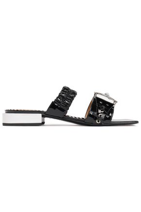TOGA PULLA Embellished gathered patent-leather mules