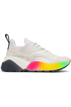 STELLA McCARTNEY Neon-trimmed neoprene, faux leather and suede sneakers
