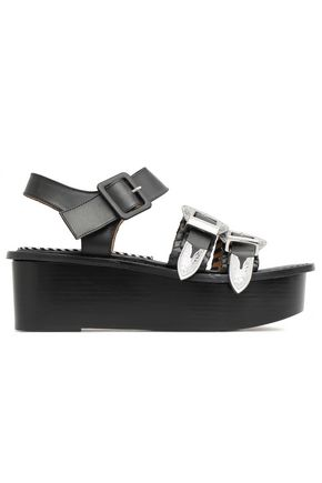 TOGA PULLA Buckled embossed leather platform sandals