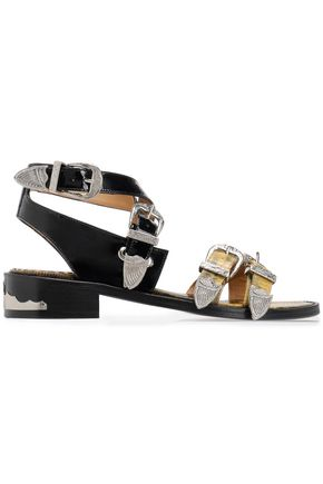 TOGA PULLA Buckled patent and lizard-effect leather sandals