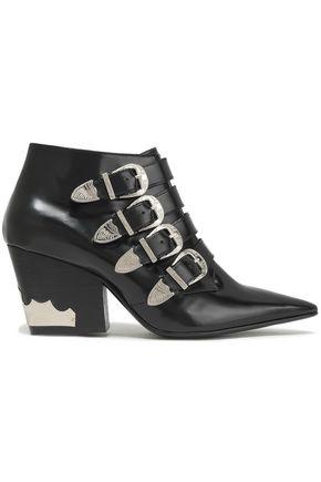 TOGA PULLA Embellished polished leather ankle boots