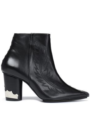TOGA PULLA Studded embroidered leather ankle boots